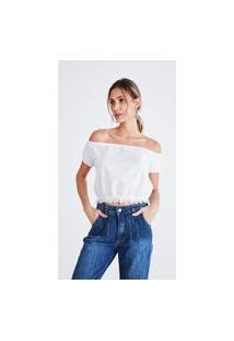Blusa Jeans Express Cropped Cigana Branco