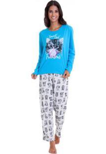 Pijama Inverno Em Algodão Luna Cuore Feminino - Feminino-Azul