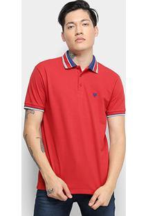 Camisa Polo Cavalera Básica Listras Masculina - Masculino-Vermelho+Branco