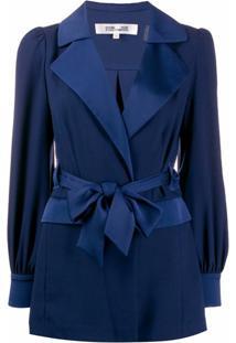 Dvf Diane Von Furstenberg Jaqueta Stassie De Cetim - Azul