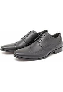 Sapato Ingles Social Masculino Em Couro Macio - Masculino-Preto