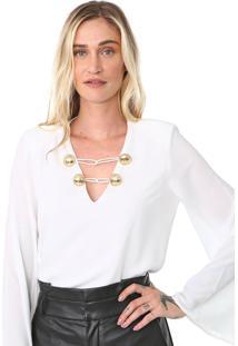 Blusa Lança Perfume Botões Off-White