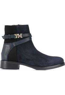 Tommy Hilfiger Ankle Boot Com Detalhe De Zíper - Azul