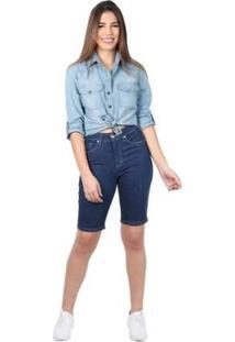 Bermuda Jeans Latifundio Tradicional Escura Feminina - Feminino-Azul Escuro