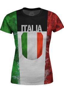 Camiseta Estampada Baby Look Over Fame Itália Multicolorida