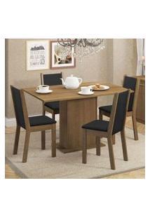 Conjunto Sala De Jantar Madesa Talita Mesa Tampo De Madeira Com 4 Cadeiras Rustic/Preto/Sintético Preto