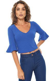 Blusa Cropped Mercatto Babado Canelada Azul