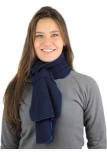 Cachecol Térmico Zíper Bag Thermo Fleece - Unissex-Azul+Marinho