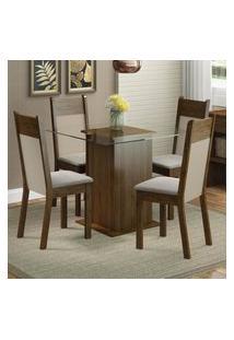 Conjunto Sala De Jantar Madesa Dallas Mesa Tampo De Vidro Com 4 Cadeiras - Rustic/Crema/Pérola Marrom