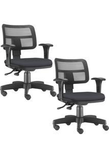 Kit 02 Cadeiras Giratórias Lyam Decor Zip Corino Preto