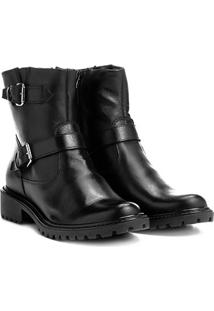 Bota Biker Shoestock Couro Tratorada Feminina - Feminino-Preto