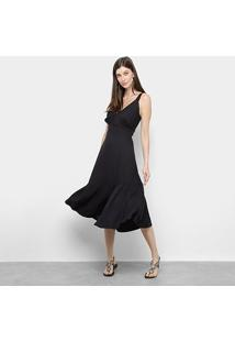 Vestido Mercatto Babado Fenda - Feminino-Preto