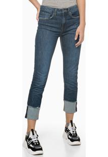 Calça Jeans High Rise Slim Barra Dob - Azul Marinho - 34