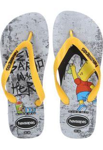 Chinelo Masculino Havaianas Simpsons Cinza/Amarelo