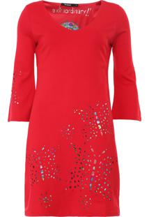 Vestido Desigual Curto Dominique Vermelho - Kanui