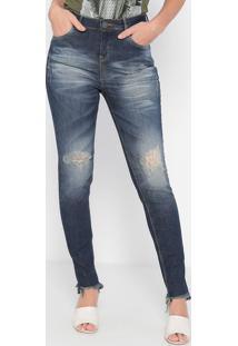 Jeans Skinny Estonado Destroyed- Azul Escuro- Malweemalwee