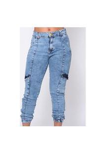 Calça Feminina Jeans Cargo Pocket Emporio Alex Jeans Azul