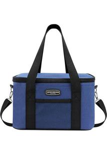 Bolsa Térmica- Azul Escuro & Preta- 18X28X17Cm- Jacki Design