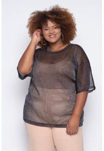 Camiseta Almaria Plus Size Alt Brand Lux Feminina - Feminino-Preto