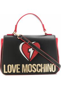 Love Moschino Bolsa Tote Com Brilho E Bordado De Coração - Preto