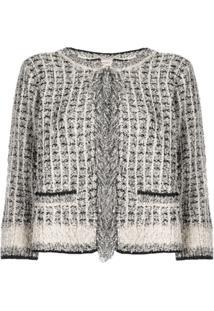 Twin-Set Frayed Trim Tweed Jacket - Neutro