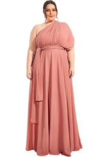 Vestido Plus Size Longo Infinity Lala Dubi Dress - Feminino-Rose Gold