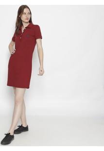 Vestido Com Bordado- Vermelho Escuro & Azul Marinhoclub Polo Collection