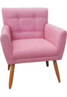 Poltrona Decorativa Onix Suede Rosa - Ds Móveis - Kanui