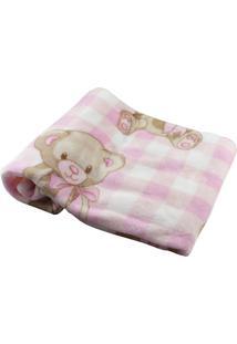 Cobertor Para Bebê Ursinha Xadrez Rosa Etruria Rosa