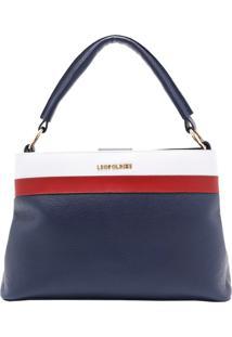 Bolsa Em Couro Azul Marinho Com Branco E Bordô Leopoldine Muriel