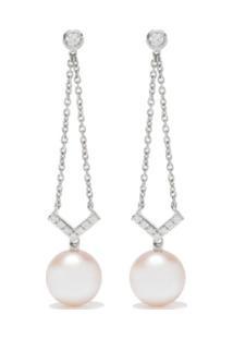 Yoko London Par De Brincos Trend De Ouro 18K Com Diamante E Pérola - 7