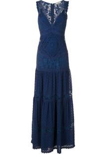 Martha Medeiros Vestido Longo Yana Rendado - Azul