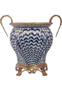Vaso De Porcelana E Bronze - Linha Blue