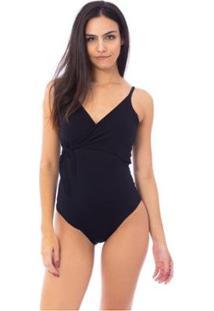 Body Moda Vicio Com Transpasse Frente E Amarração No Busto Feminino - Feminino-Preto