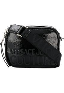 Versace Jeans Couture Bolsa Tiracolo Preta Com Estampa De Logo - Preto