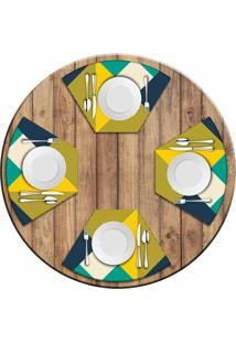 Jogo Americano Love Decor Para Mesa Redonda Wevans Abstract Yellow Kit Com 4 Pçs