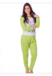 Pijama Feminino Vip Lingerie Inverno Longo Verde