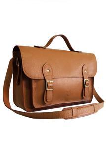 Bolsa Line Store Leather Satchel Grande Couro Caramelo. - Kanui