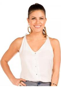 Blusa Floriá De Alças - Feminino-Off White