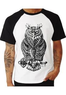 Camiseta Shirt Deads Raglan Coruja Tribal Madboss Branca
