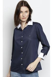 Camisa Poã¡S Com Recortes - Azul & Brancascalon