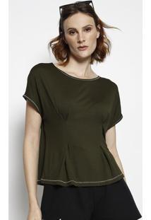 Blusa Lisa Com Pespontos- Verde Escuro- Tritontriton