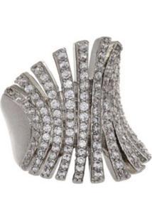 Anel Crown Cristais Di Capri Semi Jã³Ias X Ouro Branco Incolor - Incolor - Feminino - Dafiti