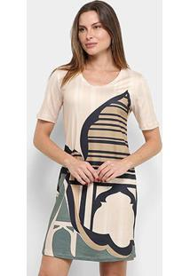 Vestido Morena Rosa T-Shirt Dress Estampado - Feminino-Nude