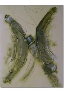 Quadro Artesanal Com Textura Abstrato Verde 40X50 Uniart
