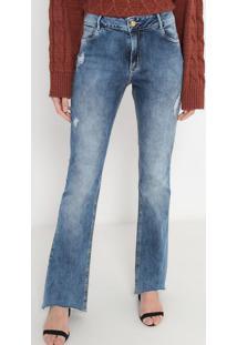 Jeans Boot Cut Desfiado - Azulmorena Rosa