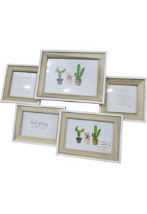 Porta Retrato Urban Home Mart Branco E Bege Para 5 Fotos Multi Cactus