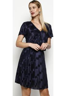 694e5a25f6 -66% Vestido Plissado Com Transpasse- Azul Escuro- Maria Maria Valentina