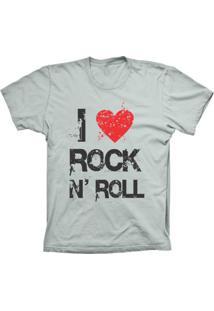 Camiseta Baby Look Lu Geek I Love Rock Prata - Prata - Feminino - Dafiti