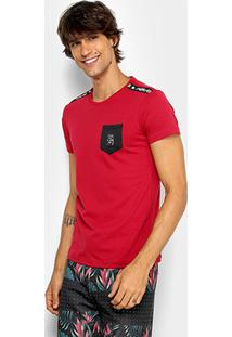 Camiseta Rg 518 Meia Malha Bolso Masculina - Masculino-Vermelho